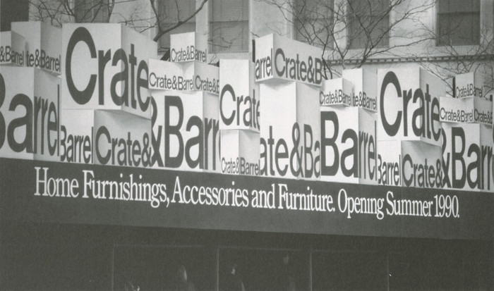 A Crate & Barrel store under construction in Northbrook, Illinois, 1989. The installation was designed by Vignelli alum Alessandro Franchini who was Crate & Barrel's brand manager from 1988–2013.