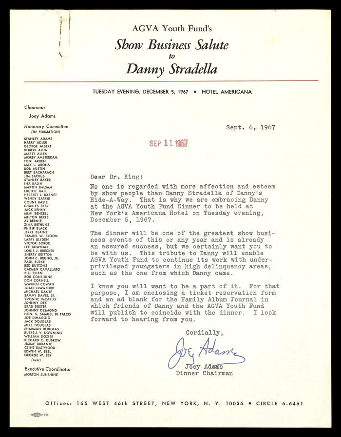 Show Business Salute to Danny Stradella invitation 3