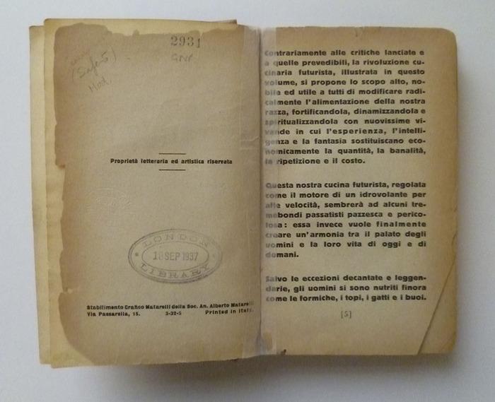 The Futurist's Cookbook by F. T. Marinetti, 1st edition 4
