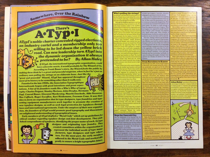 Somewhere, Over the Rainbow, There's ATypI, an article from by Allan Haley.