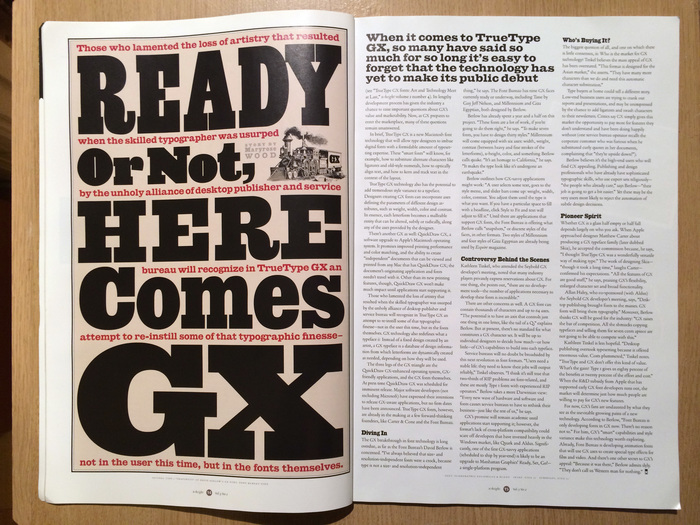 Ready Or Not, Here Comes GX, an article about the TrueType GX font technology by Maryrose Wood.