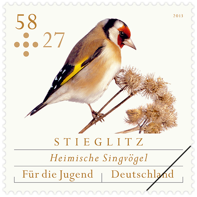 Goldfinch. Based on a photo by Erich Greiner.