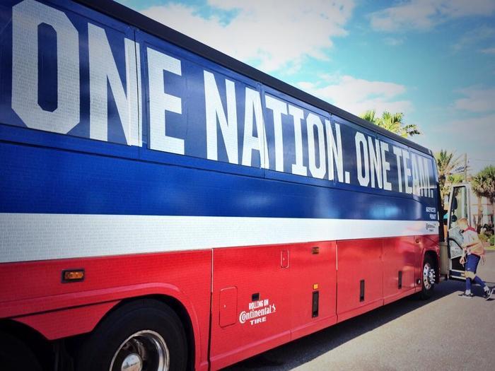 United on the team bus.