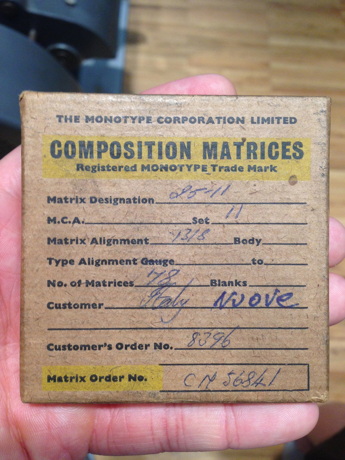 Monotype composition matrices