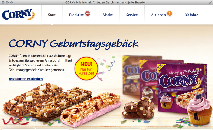 Corny granola bars website 2