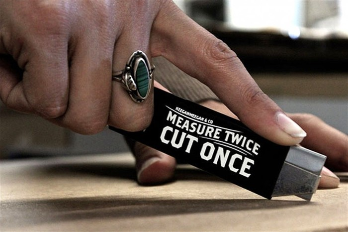 """Measure Twice, Cut Once"" box cutter 1"
