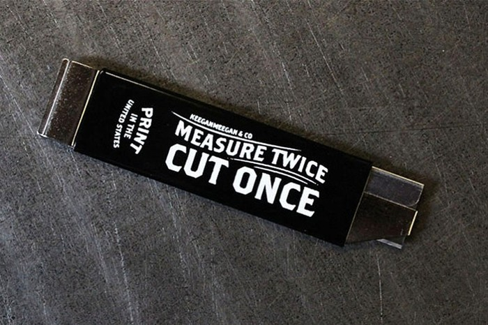 """Measure Twice, Cut Once"" box cutter 2"