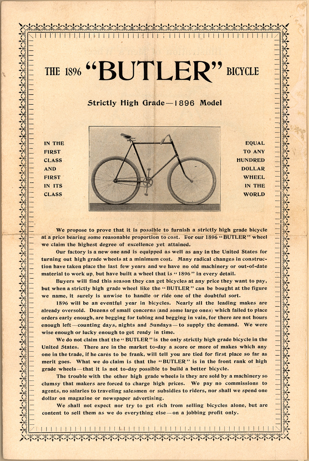The 1896 Butler Bicycle - Fonts In Use