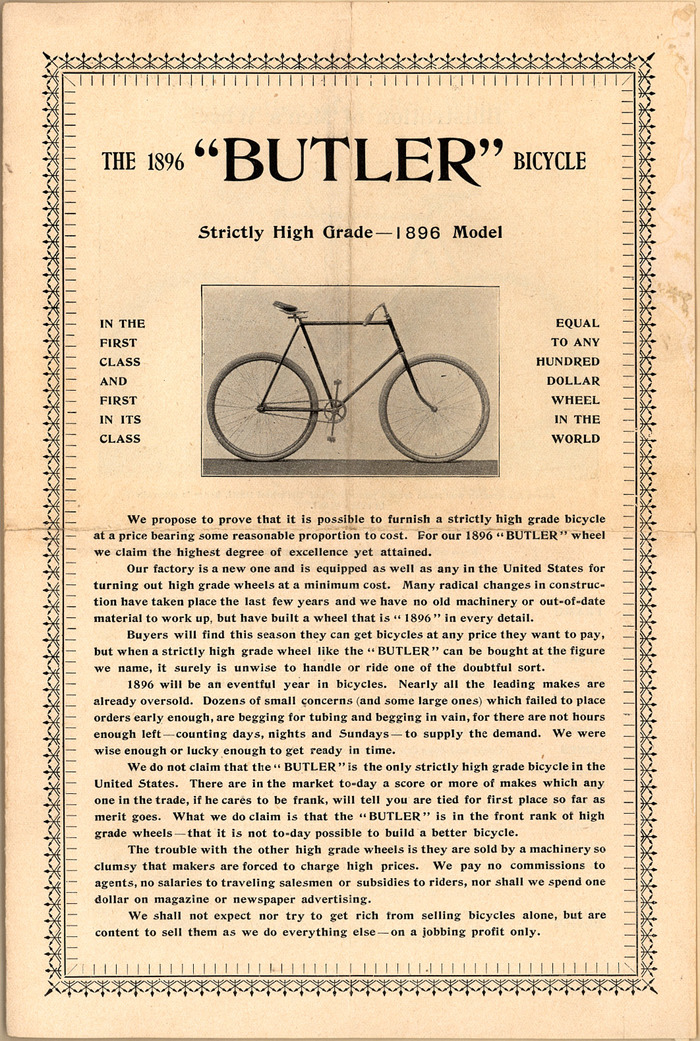 The 1896 Butler Bicycle 1