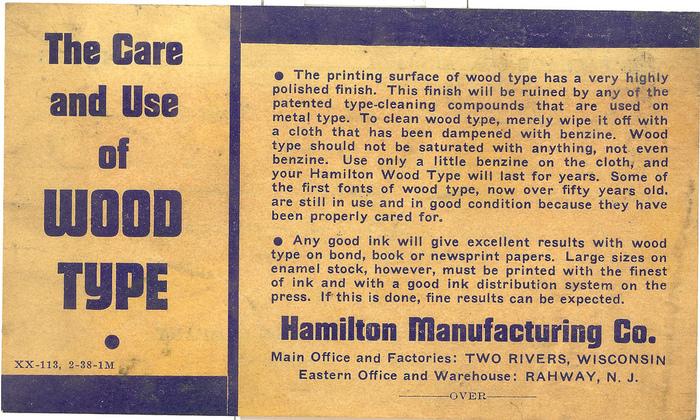 Hamilton packing label