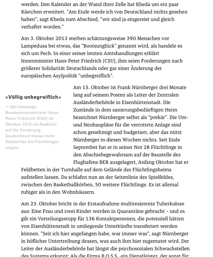 Longform text in Franziska with floating blockquote in Tablet Gothic