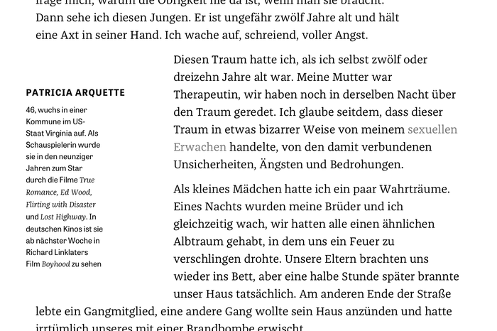 At least on iPad proportions, the floating portrait box has extremely short lines. With long German compound words and no hyphenation, this can lead to ugly results. Interestingly, Tablet Gothic has been paired with Franziska's italics here. This might have been an unintended and temporary thing, though: I see (faux-)obliqued Tablet Gothic now.