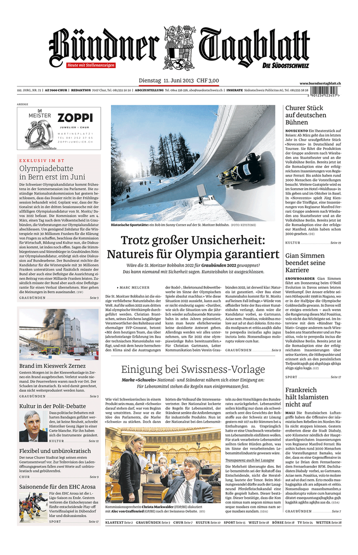 Mockup of the front page.