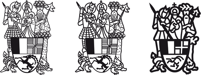 Jakob Runge did not only provide the typeface, he also drew the newspaper's nameplate. Both the historic coat of arms and the blackletter lettering existed as archive images only and hence had to be reinterpreted, vectorized and brought to a contemporary appearance. To cater perfectly to various applications, three distinct versions with different levels of complexity — optical sizes — were created. See more images on his website.