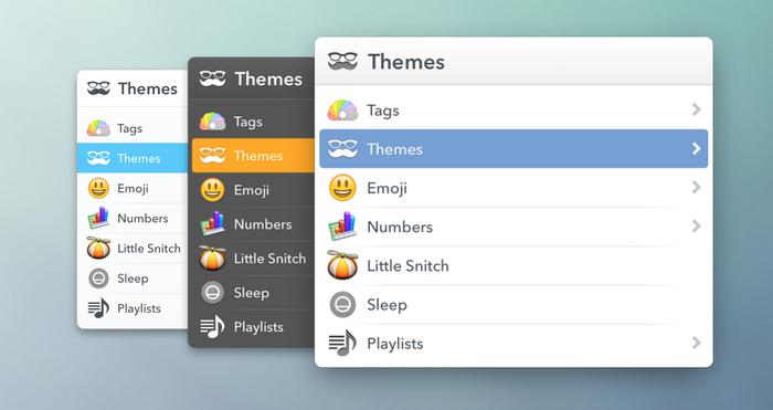 Main LaunchBar interface in its three Avenir-based themes.