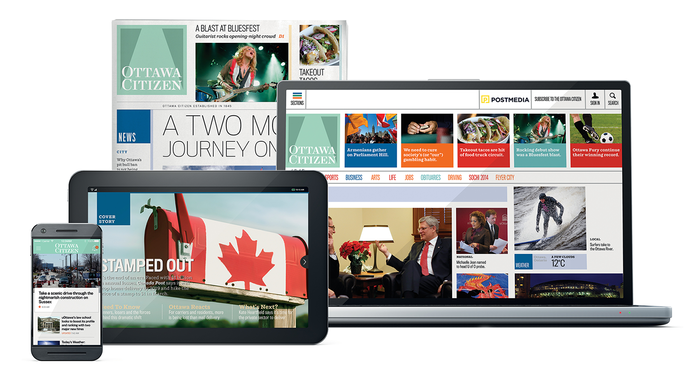 The full product suite for the Ottawa Citizen: iPhone/Android app with local news updates, evening tablet edition, broadsheet print edition, and responsive website.