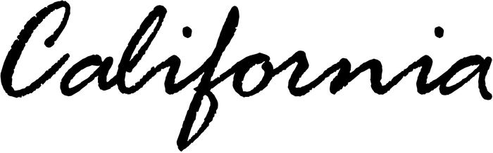 """California"" set in the Rage Italic font, without modification. Rage was tamed for the California mark. The typeface's rough contours were smoothed and letter connections improved ('al', 'li'). The designer also ended the word with a new 'i' and swash 'a', perhaps stemming from the font's alternate 'a', shown here."