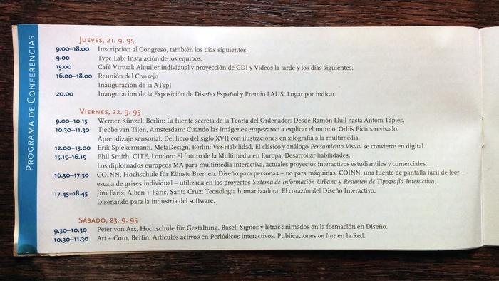 ATypI 1995 Barcelona program 2