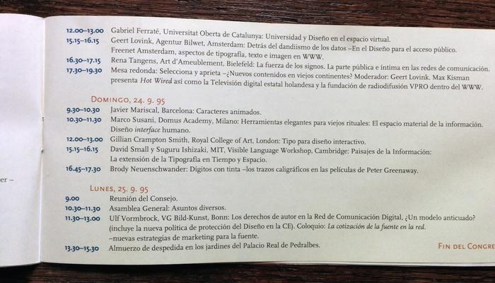 ATypI 1995 Barcelona program 3