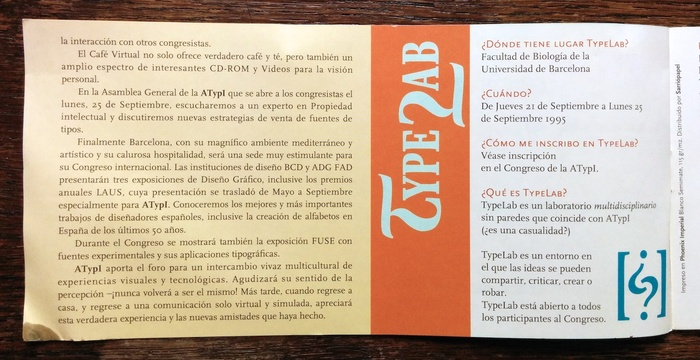 ATypI 1995 Barcelona program 6