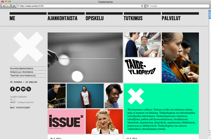 University of the Arts Helsinki website 1
