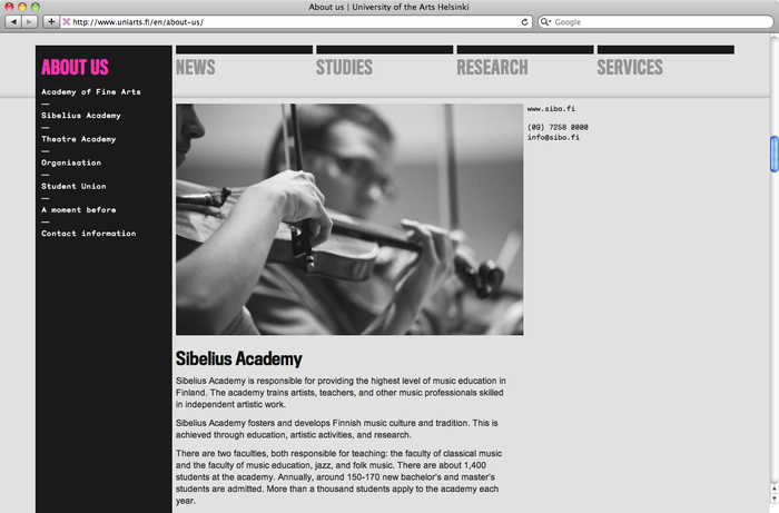 University of the Arts Helsinki website 2
