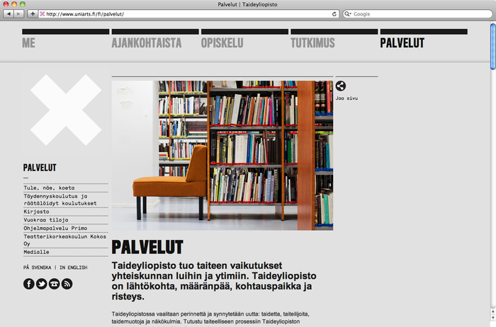 University of the Arts Helsinki website 4