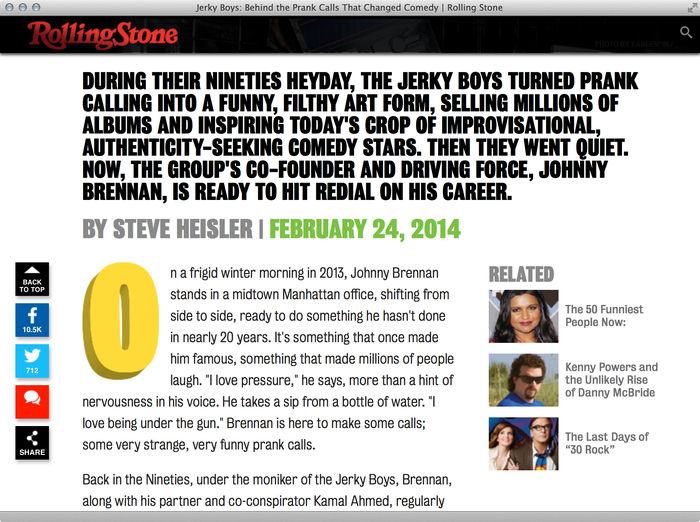 Jerky Boys on Rolling Stone 4