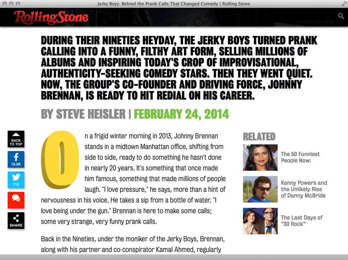 Jerky Boys on Rolling Stone 4
