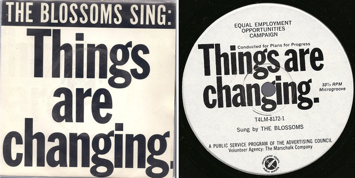 Sleeve and label for the single, Things are changing, by The Blossoms in 1965. Top line set in Alternate Gothic.