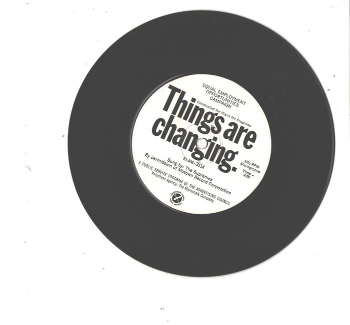 Record label for the single, Things are changing, by The Supremes in 1965.
