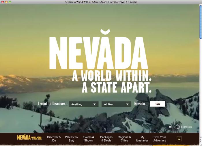 Travel Nevada website 1