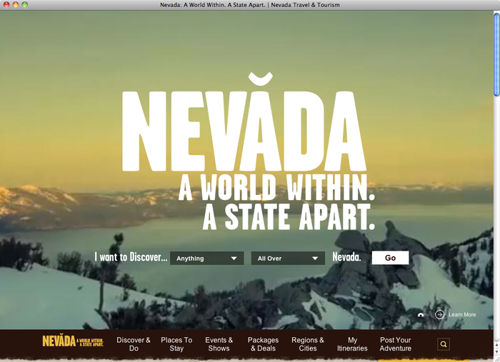 Travel Nevada website 1