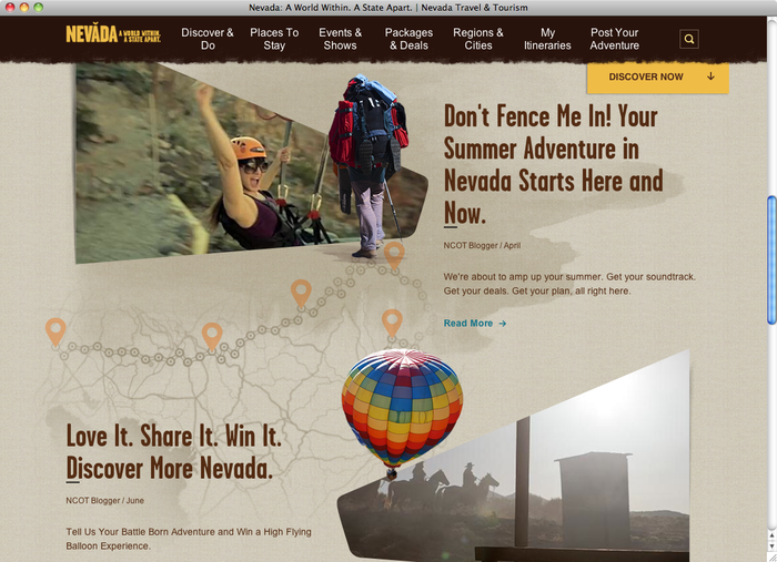 Travel Nevada website 2