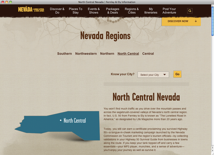 Travel Nevada website 3