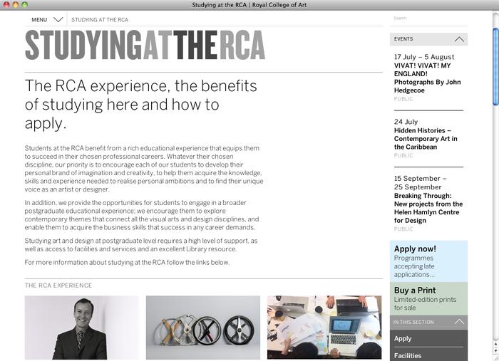 Royal College of Art London website 1