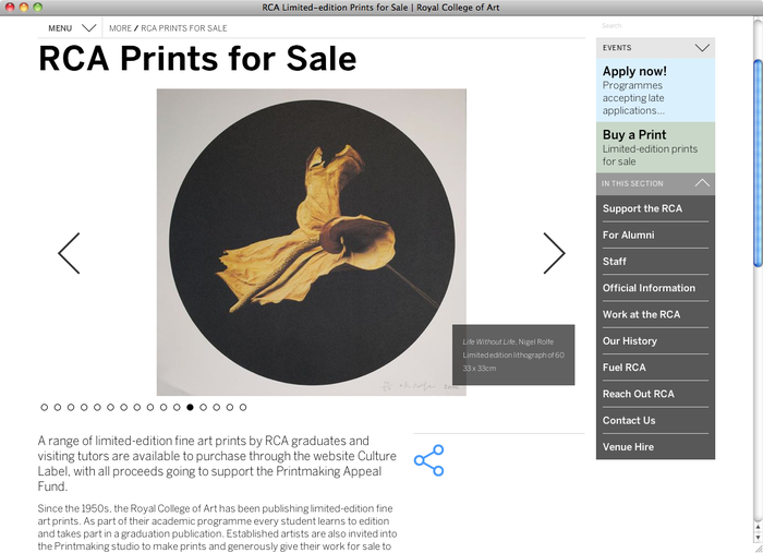 Royal College of Art London website 2