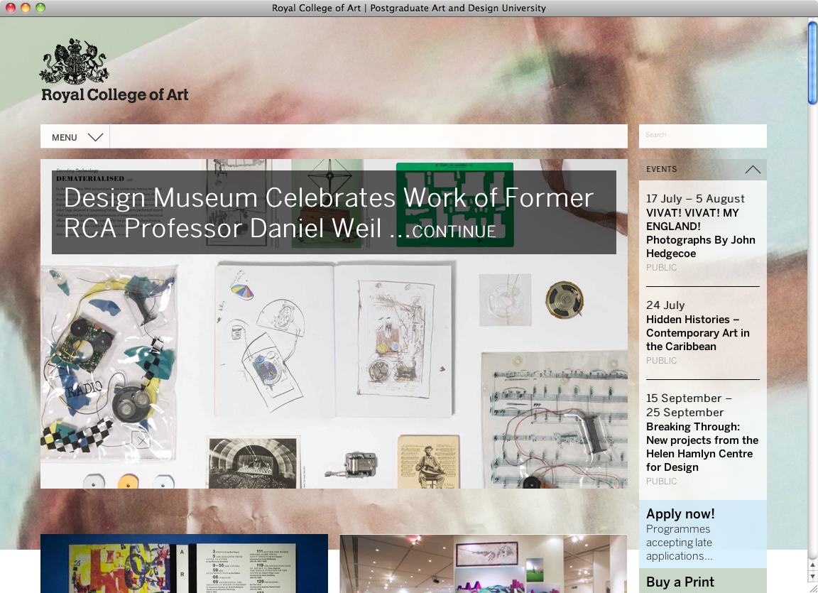 Royal College Of Art London Website Fonts In Use