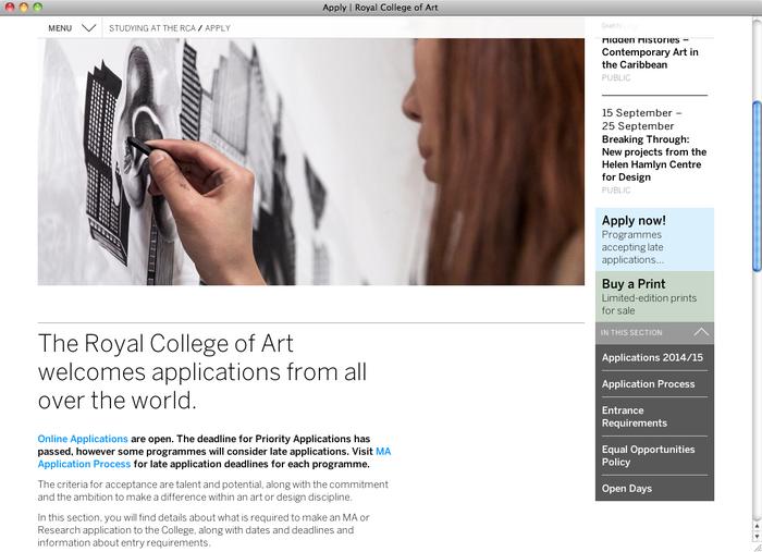 Royal College of Art London website 4