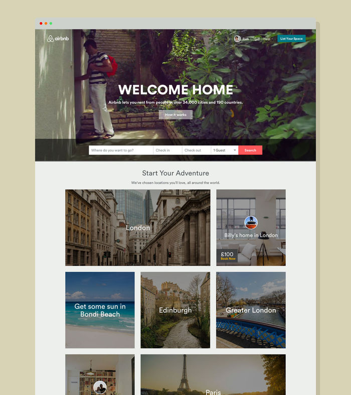 Aribnb homepage.