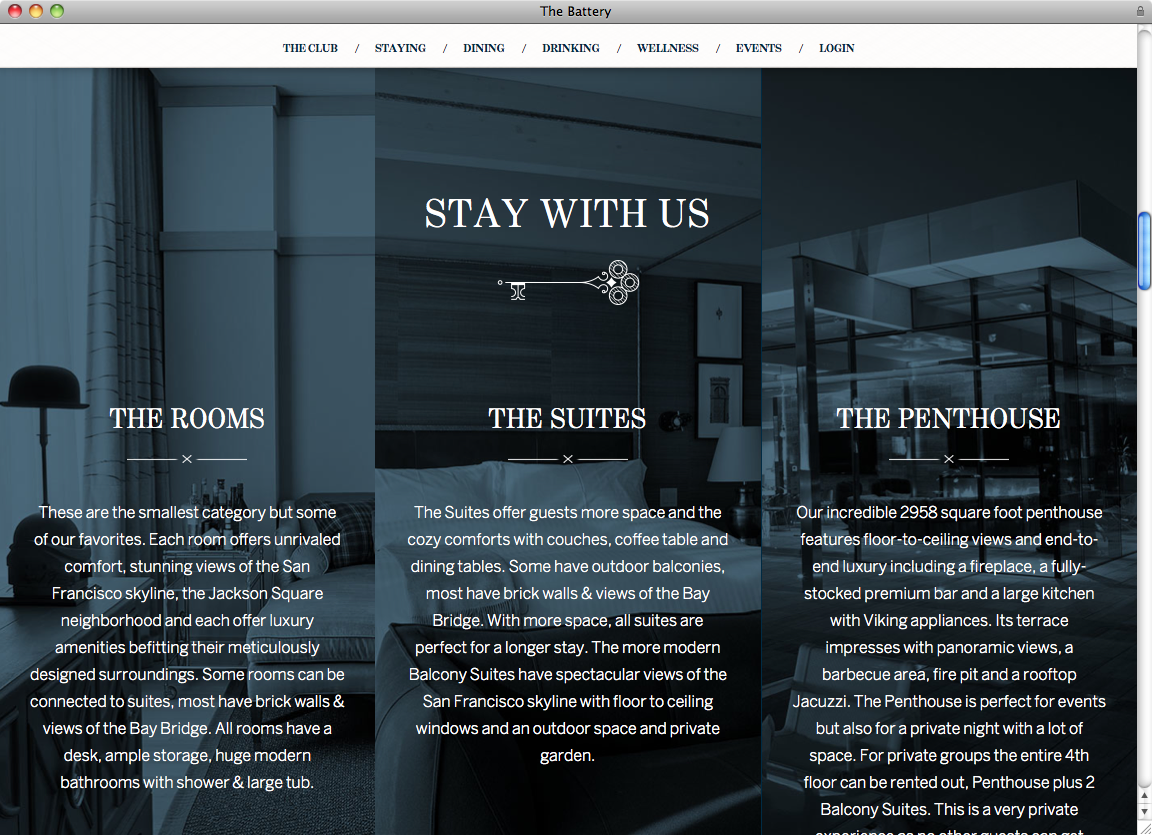 The Battery website - Fonts In Use