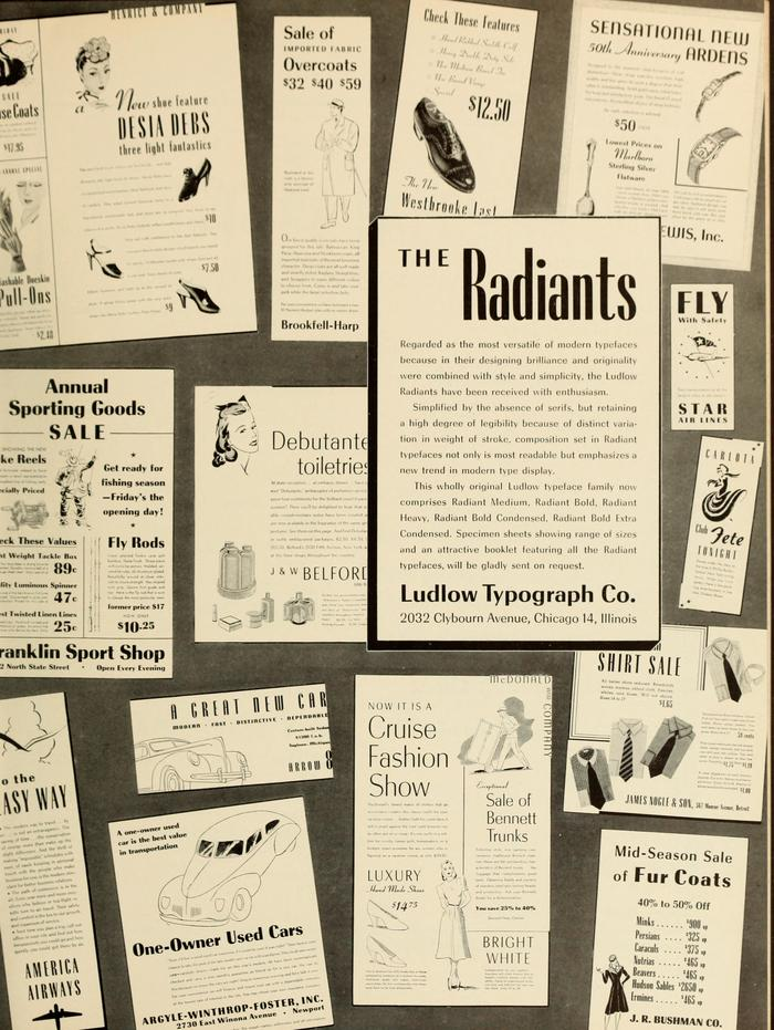 Ludlow ad for the Radiant type family