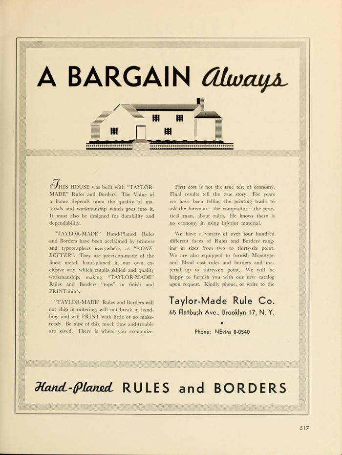 """Taylor-Made Rule Co. ad: """"A Bargain Always"""""""