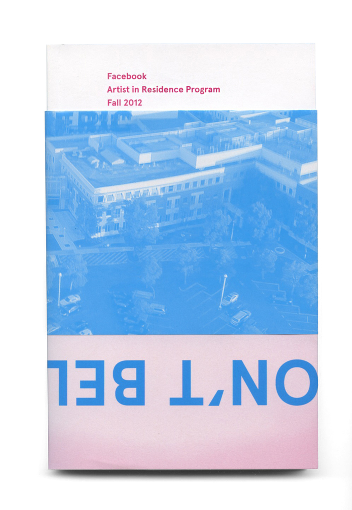 The cover of the Facebook's first catalog for its Artist in Residence Program.