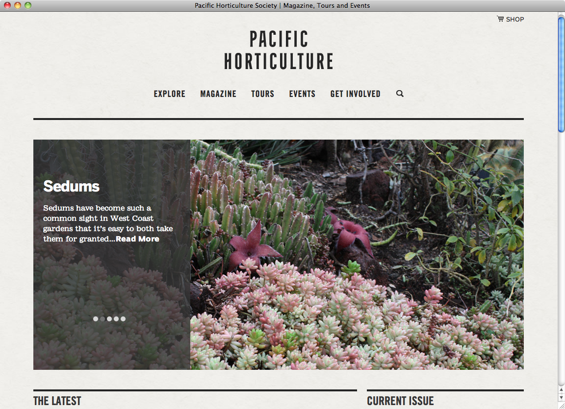 Pacific Horticulture Website Fonts In Use