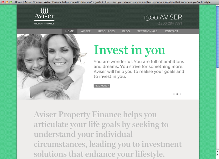 Aviser Property Finance website 1