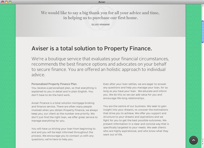 Aviser Property Finance website 3