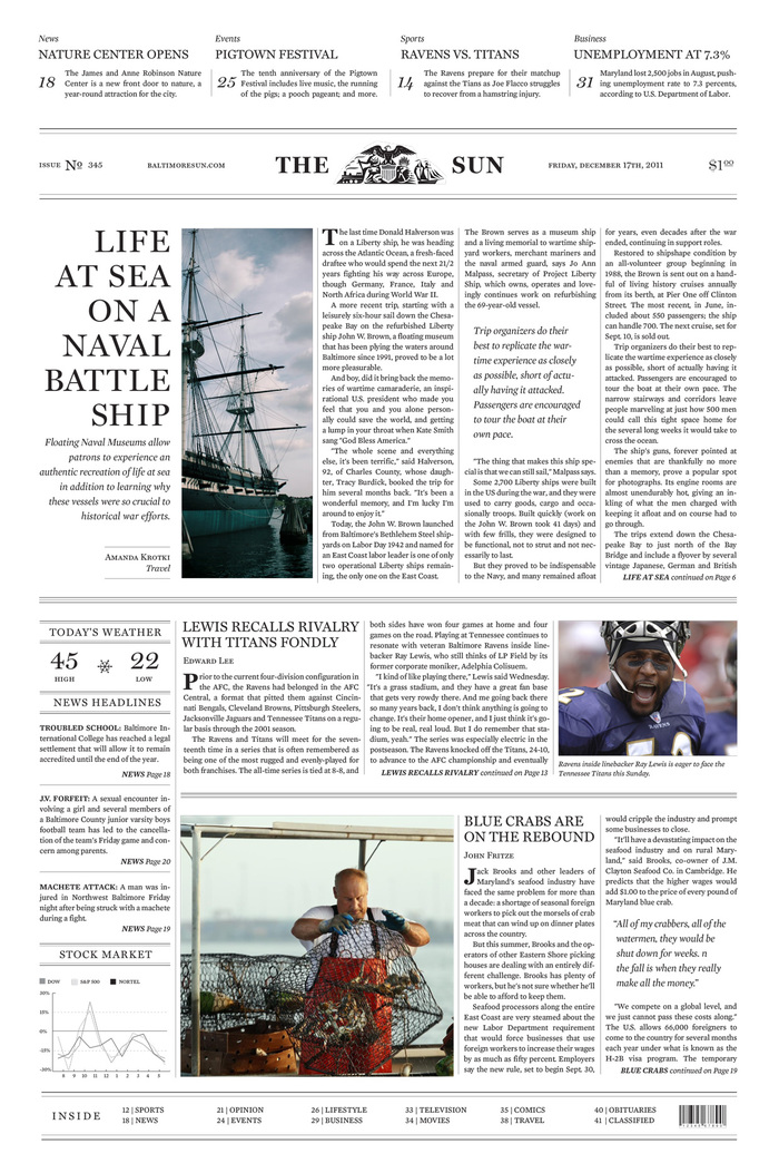 Hypothetical Baltimore Sun redesign