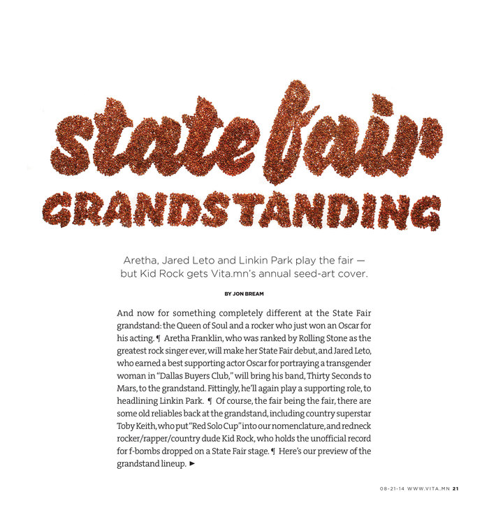 """State Fair Grandstanding"" title spread from Vita.mn 4"