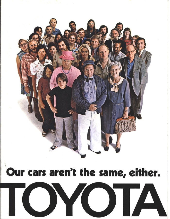 """Toyota ad: """"Our cars aren't the same, either."""" 1"""
